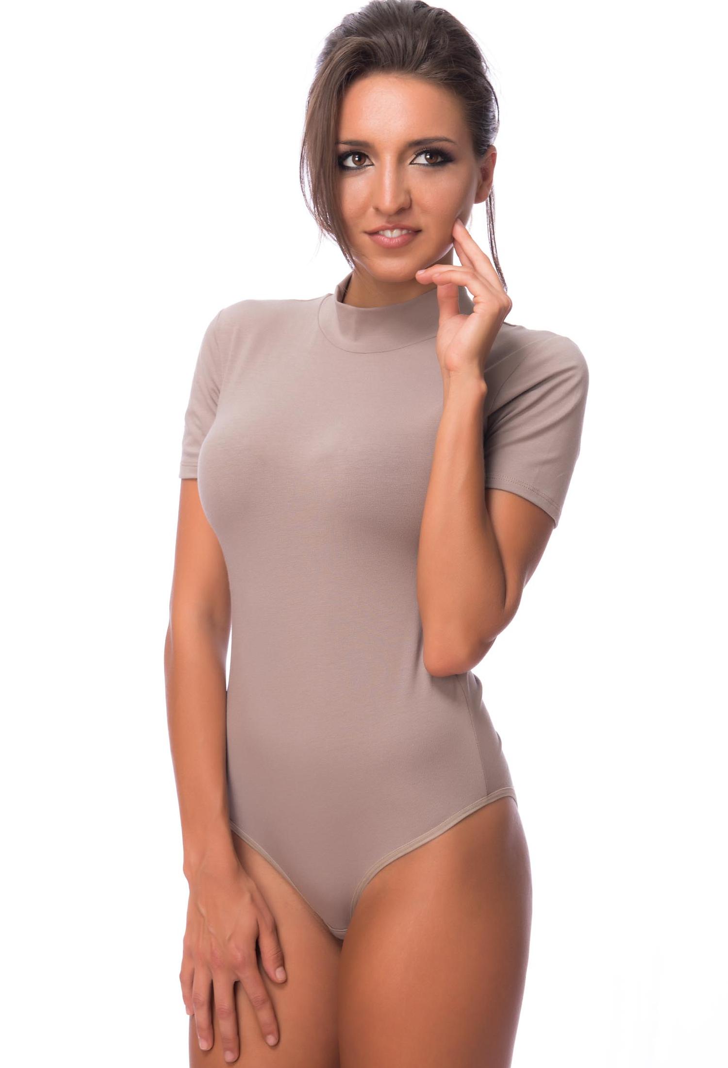 EVONI Damen Body Kurzarmbody mit Halbkragen Baumwoll-Body Bodysuit