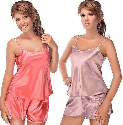 45256b181bd Details about Women's Satin Pajamas Shorty Set Strap Top Night Gown S M L  XL Nightwear