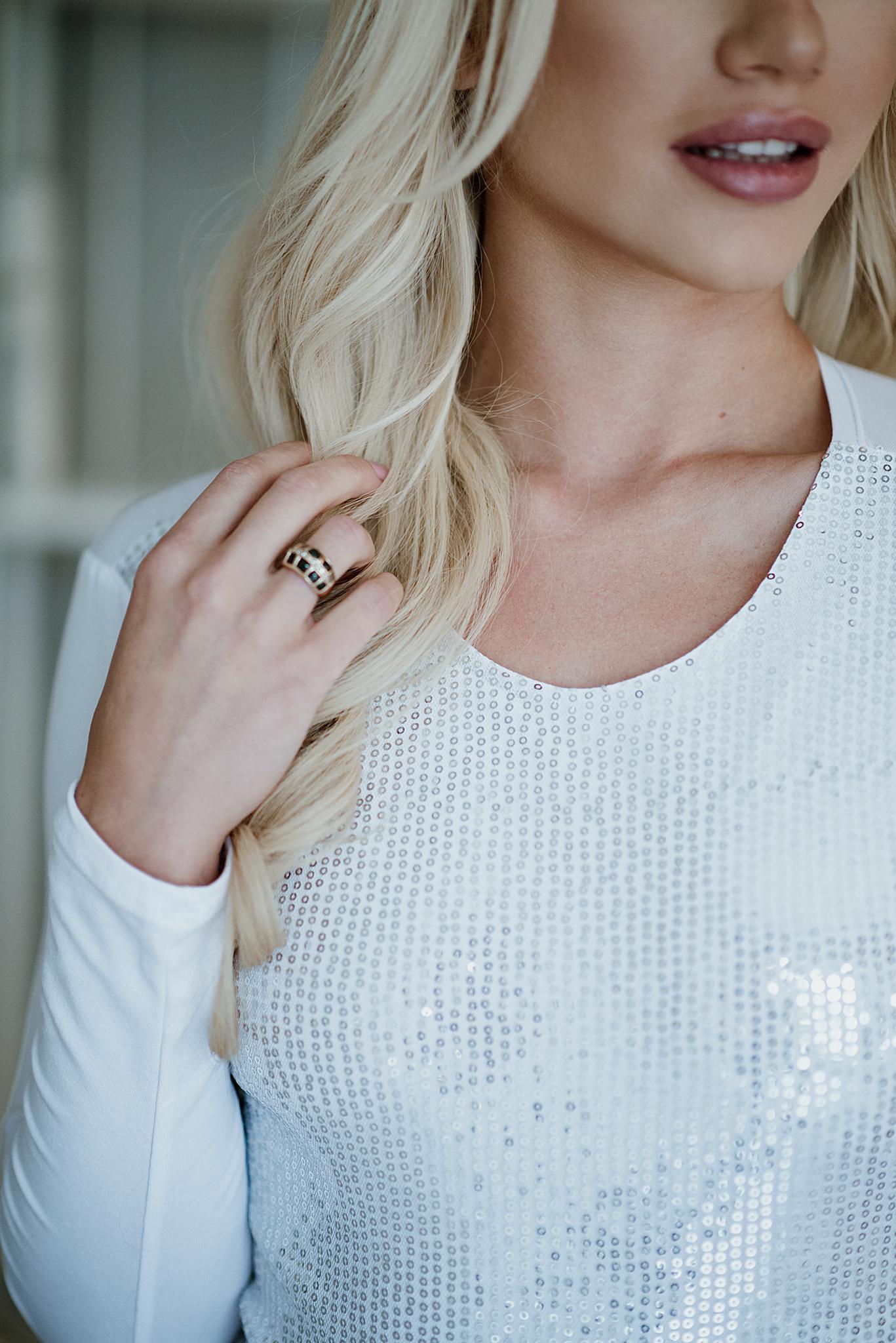 Evoni Langarmbody silver sparkle