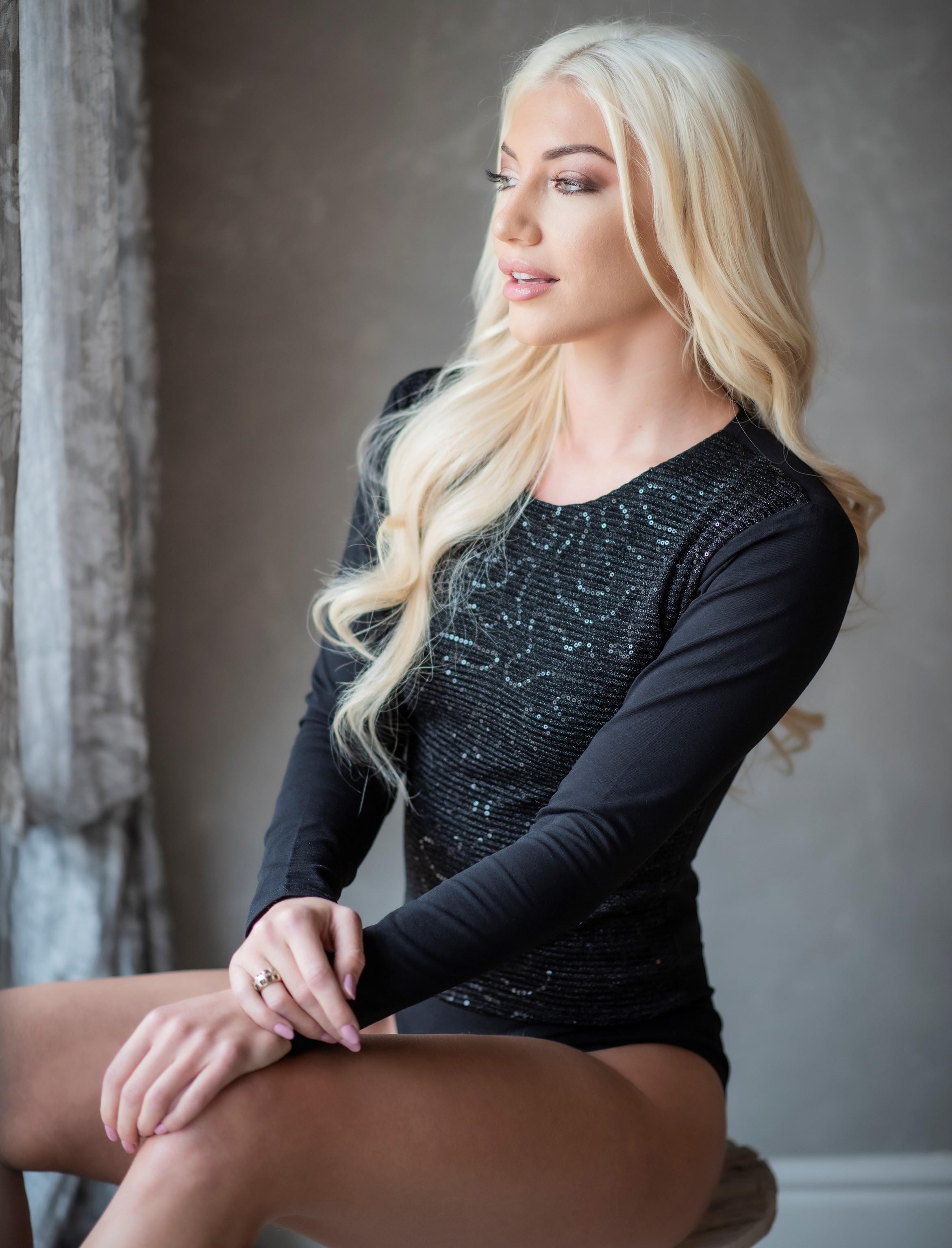 Evoni Langarmbody black sparkle