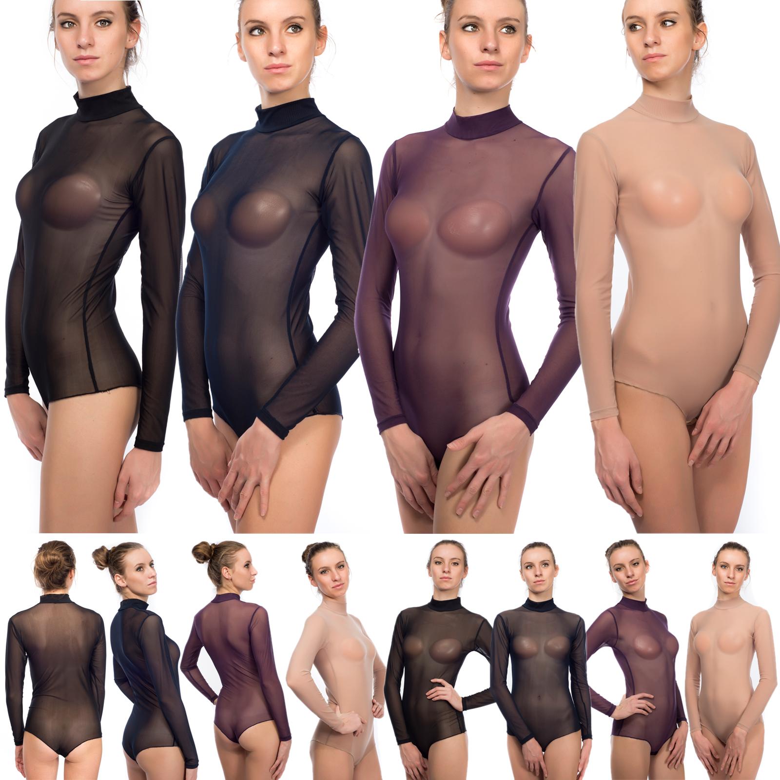 EVONI-Damenbody-transparent-Tuell-Bodysuit-Sexy-Langarm-Body-aermellos-Stringbody