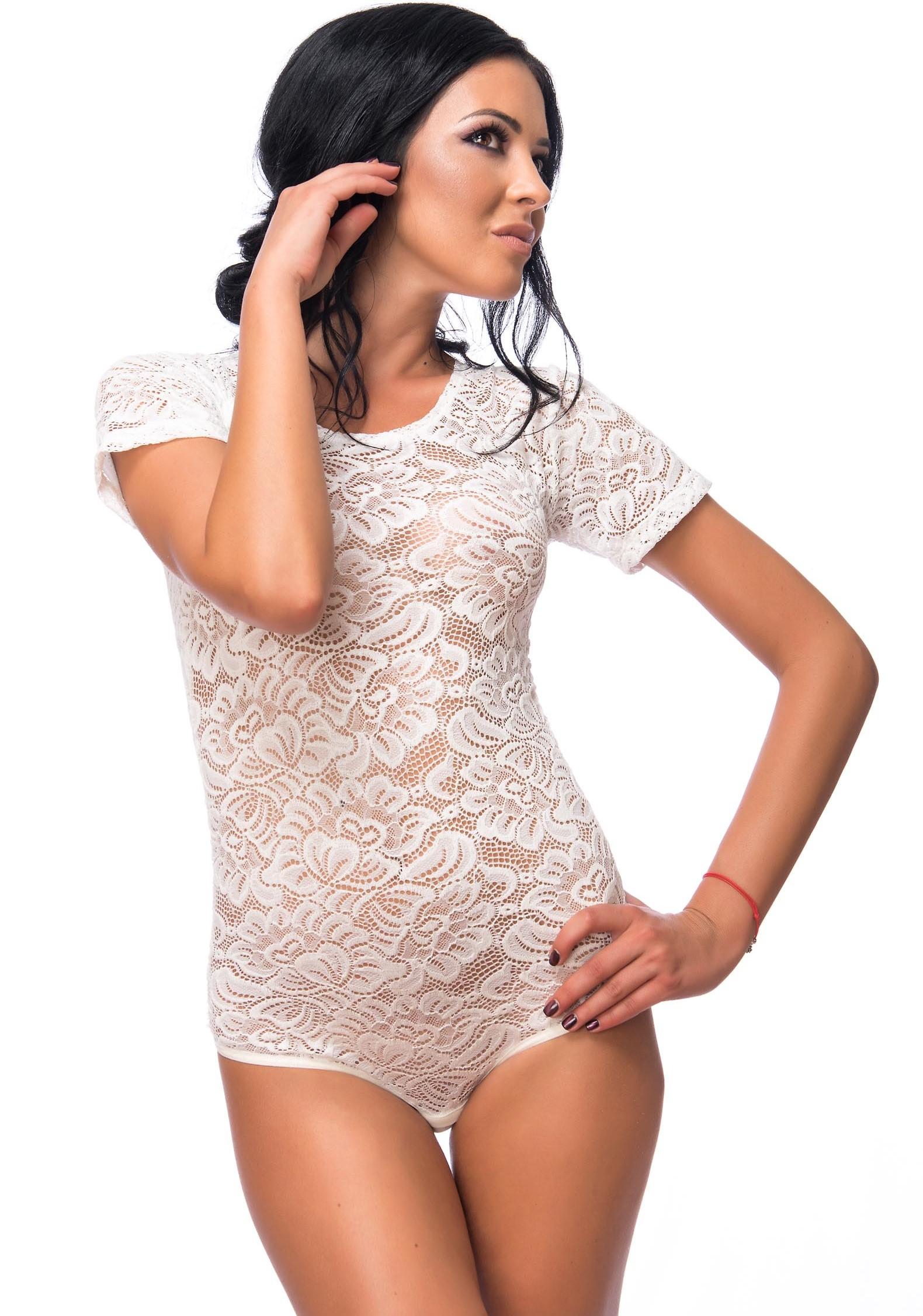 Evoni Body Femmes Sexy Dentelle Manches Courtes Col Rond avec un String d5383c7fc36
