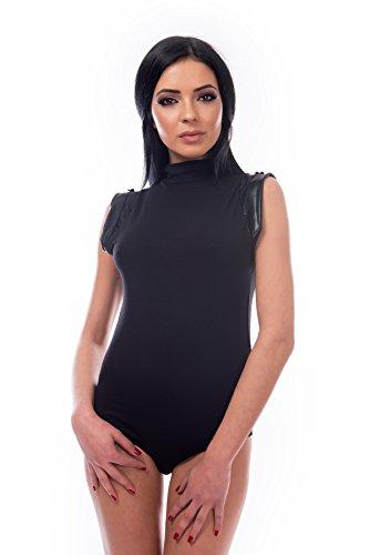 Damen Body BRAZILIAN Slip kurze Kunstlederärmel Halbkragen schwarz L