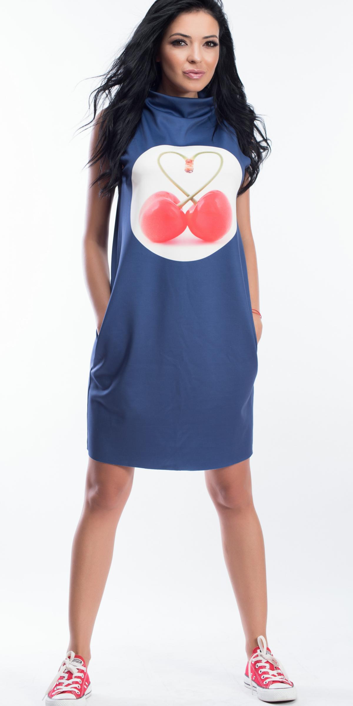 My Magenta Damen Kleid onhe Ärmel mit Kirschen Muster in Blau