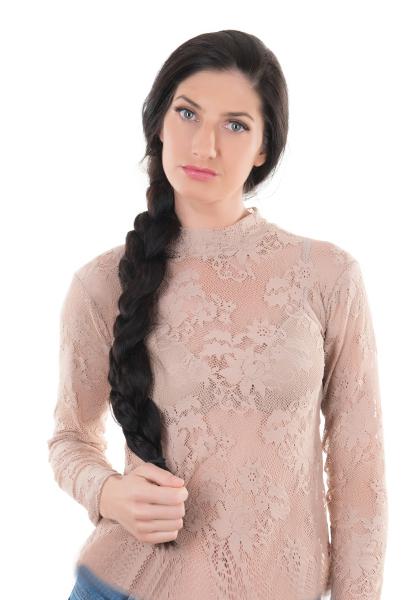 Evoni Langarm-Shirt mit Halbkragen mit floraler Spitzenapplikation