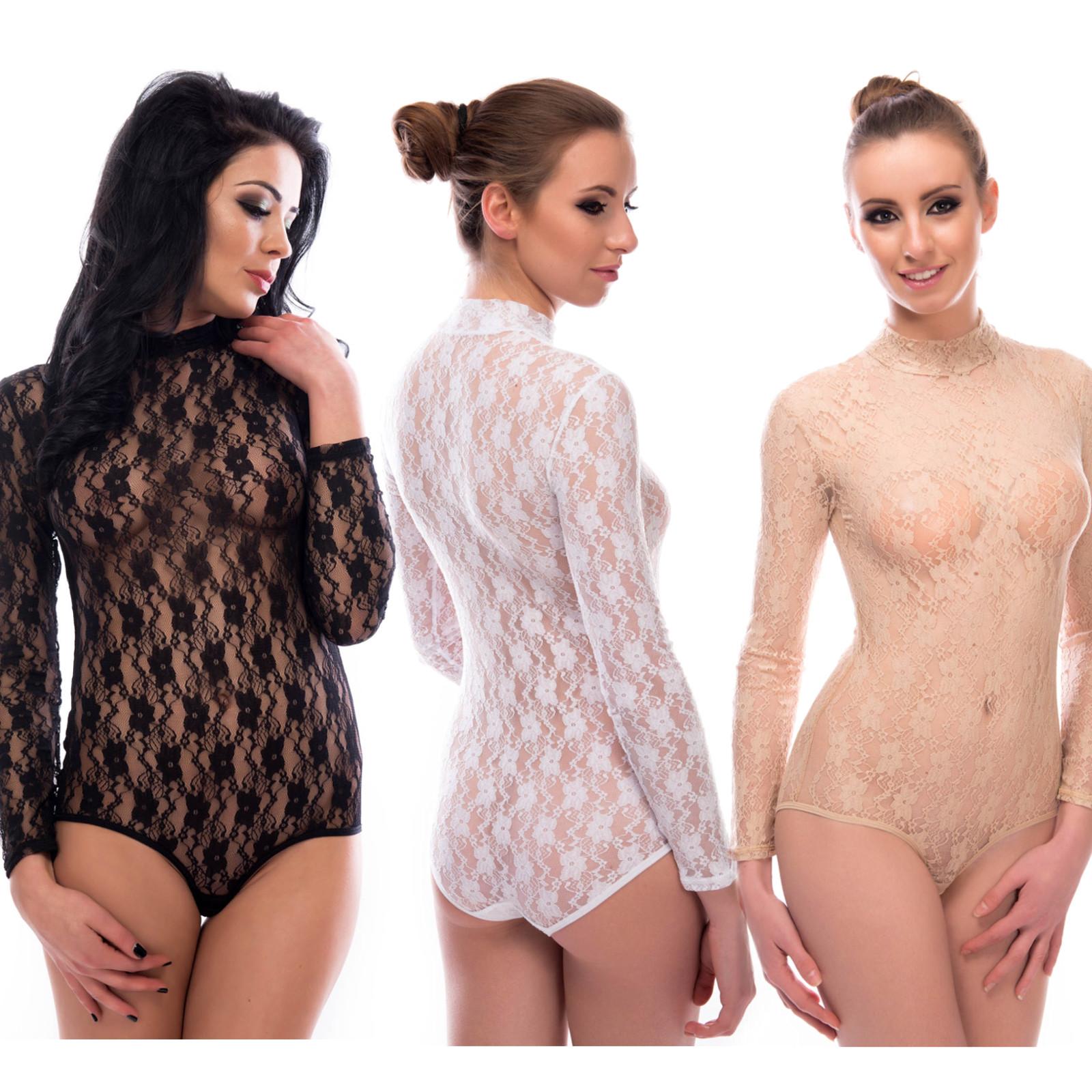 Langarmbody-Damen-Body-Stringbody-Sexy-Spitzenbody-Armellos-Halbkragen-Bodysuit