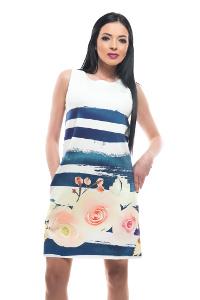 My Magenta Damen Kleid onhe Ärmel mit großen Blumen in Weiß