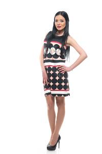 My Magenta Damenkleid mit farbigen Kreisen in Schwarz