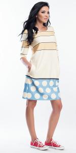My Magenta Damen Kleid mit 7/8 Ärmeln mit Punkten und Streifen