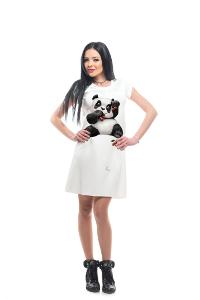 My Magenta Damenkleid mit Panda-Druck in Weiß