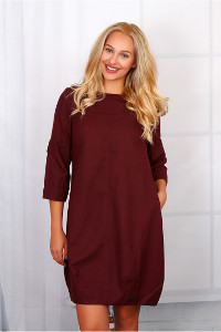 NEGATIVE Langarm-Kleid in Bordeaux